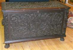 Early 20th c. carved wood blanket chest