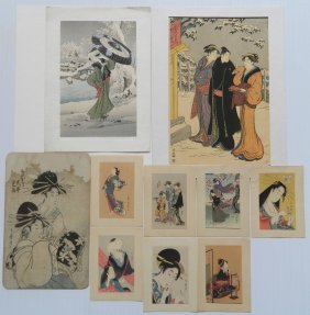Group Of Japanese School Woodblocks In Colors