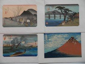 After Hiroshige, After Hokusai - 4 Woodblocks
