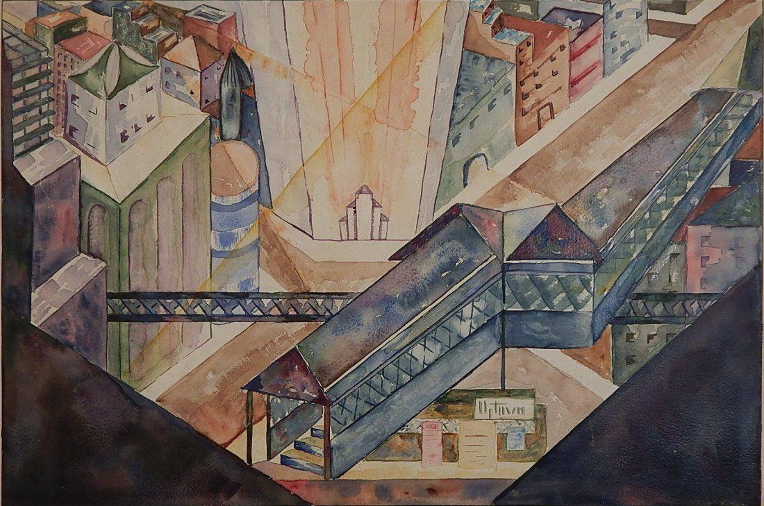 20th c. American School watercolor