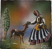 Jeno Csapo painting on cloth