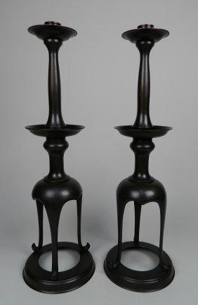 Pair Of Japanese Bronze Candlesticks
