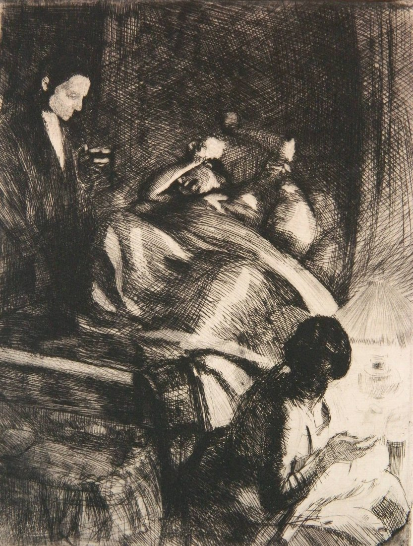 Albert Besnard etching and drypoint