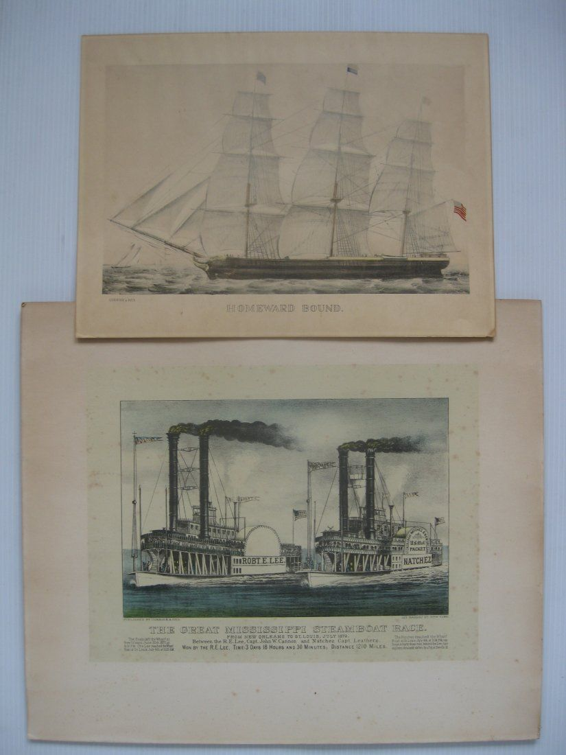 after Currier and Ives 2 lithographs