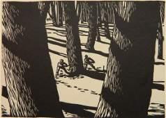 Walter D Richards woodcut