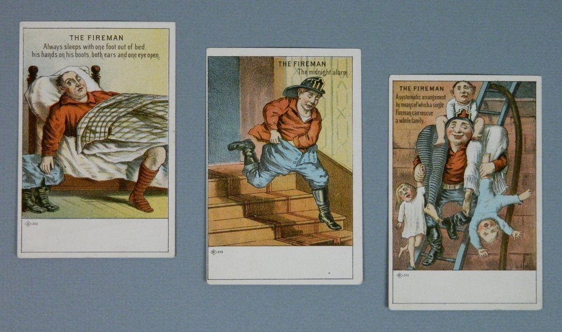 3 'The Firemen' trading cards