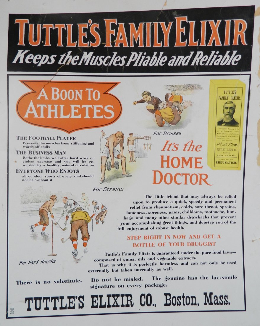 ''Tuttle's Family Elixir'' advertisement sign