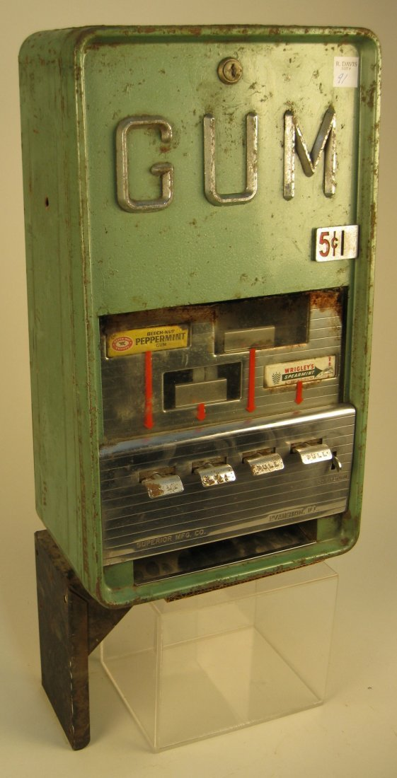 5 Cent Vintage Superior Mfg. Gum Vending Machine - 3