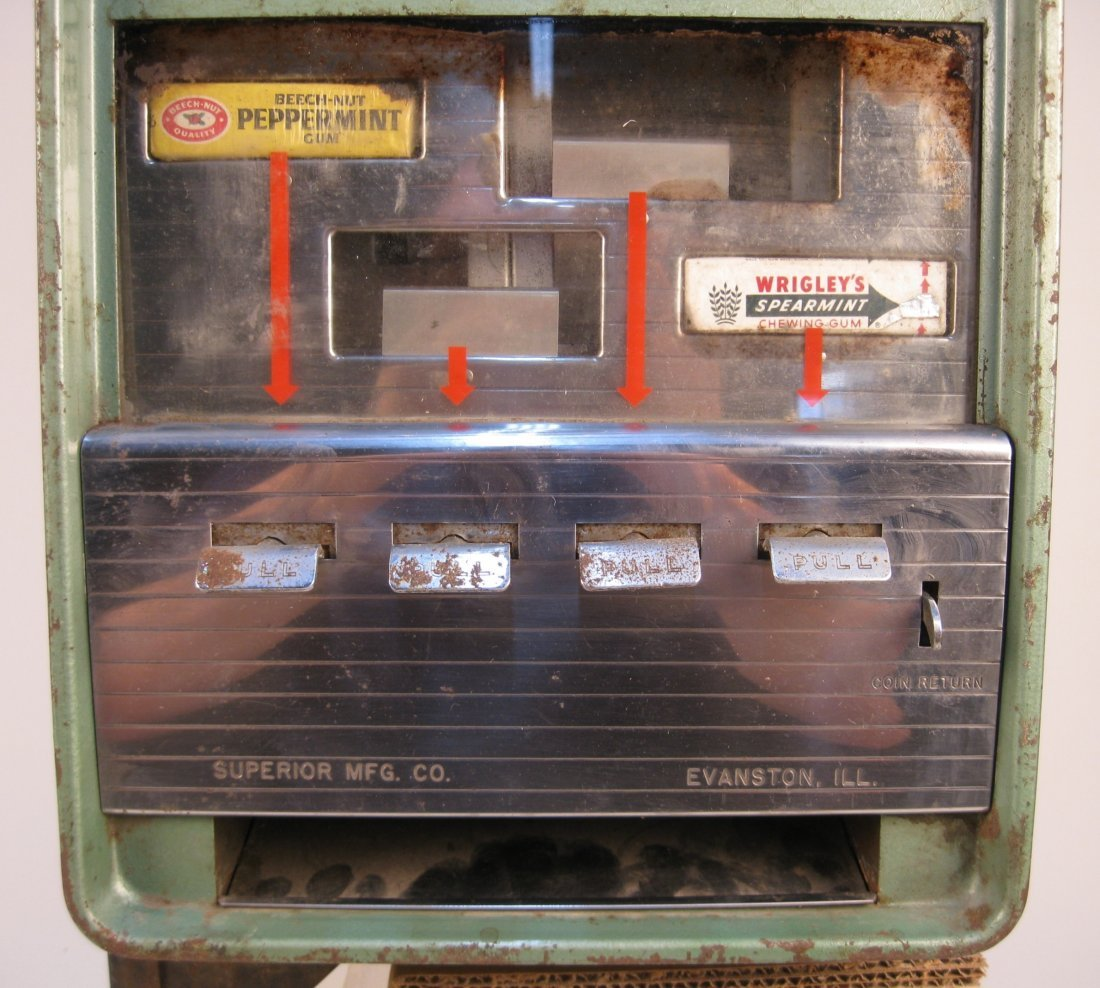5 Cent Vintage Superior Mfg. Gum Vending Machine - 4