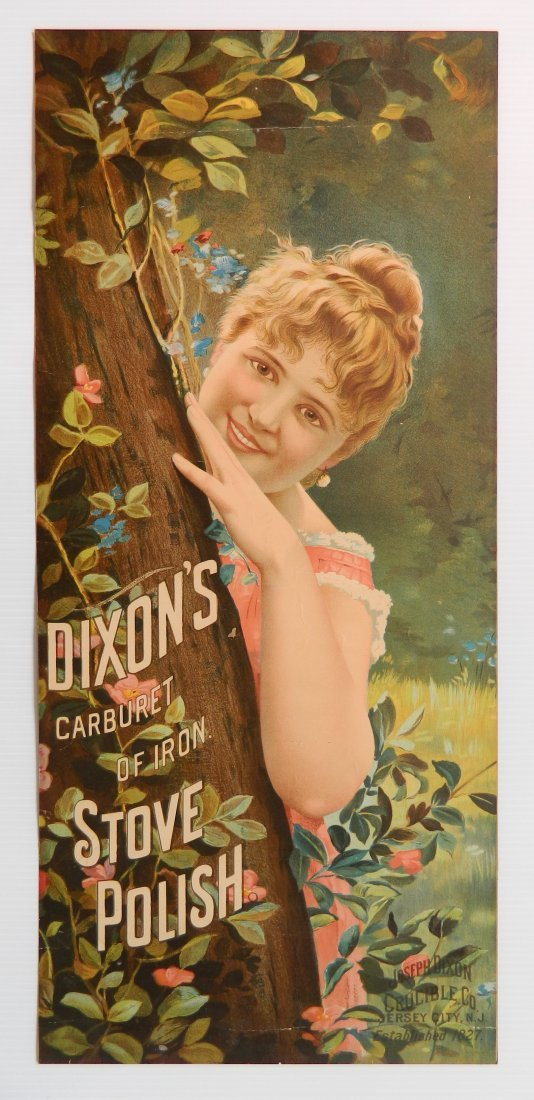 Dixon's 'Caburet of Iron' stove polish paper sign