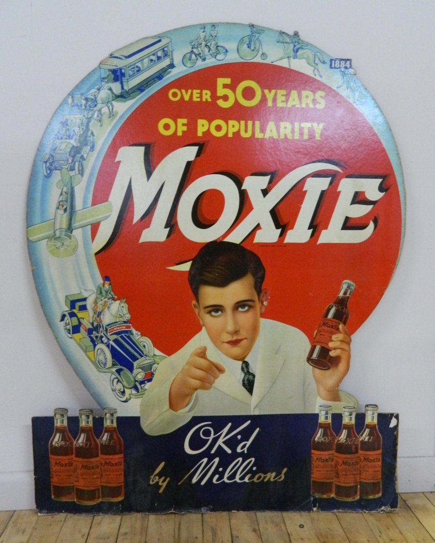 Moxie cardboard advertisement sign