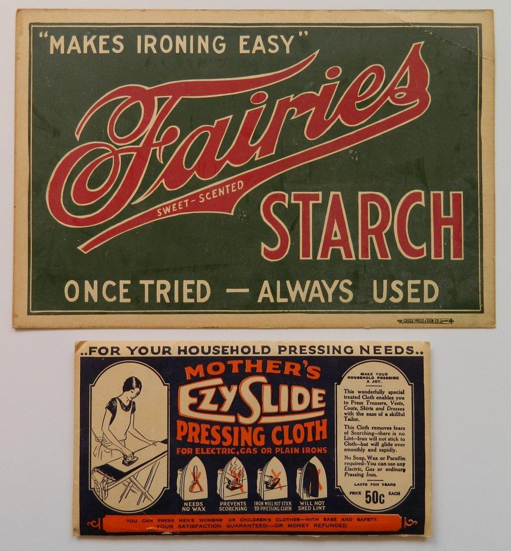 Fairies Starch advertisement cardboard sign