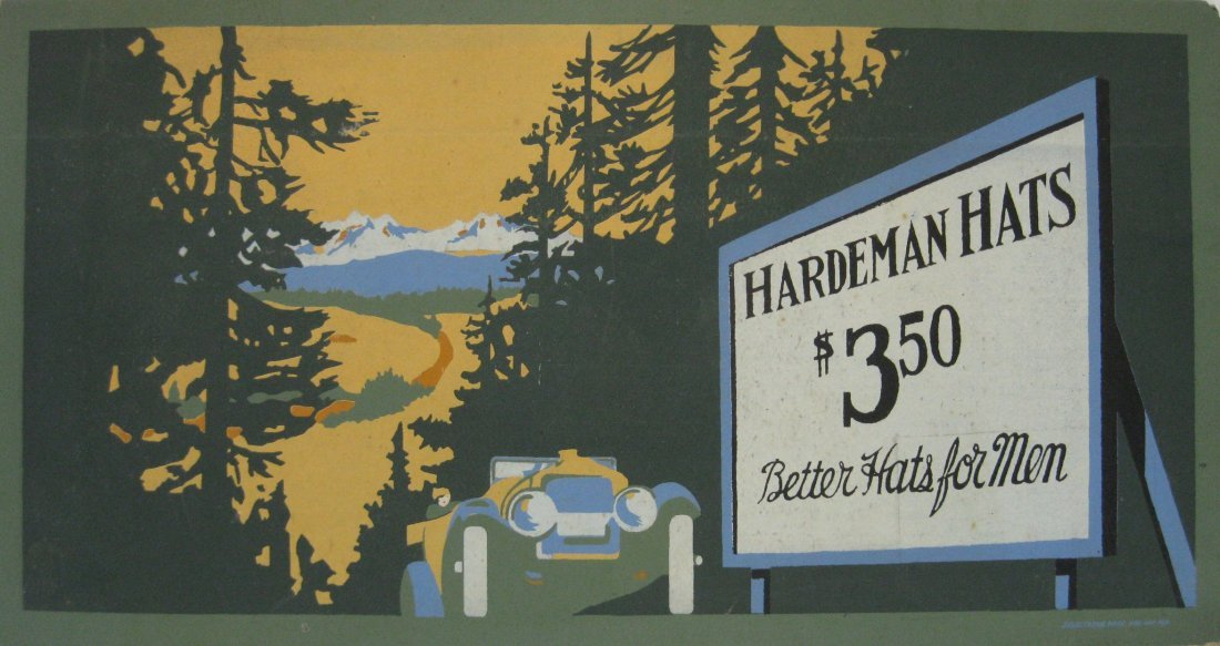 Hardeman Hats cardboard sign