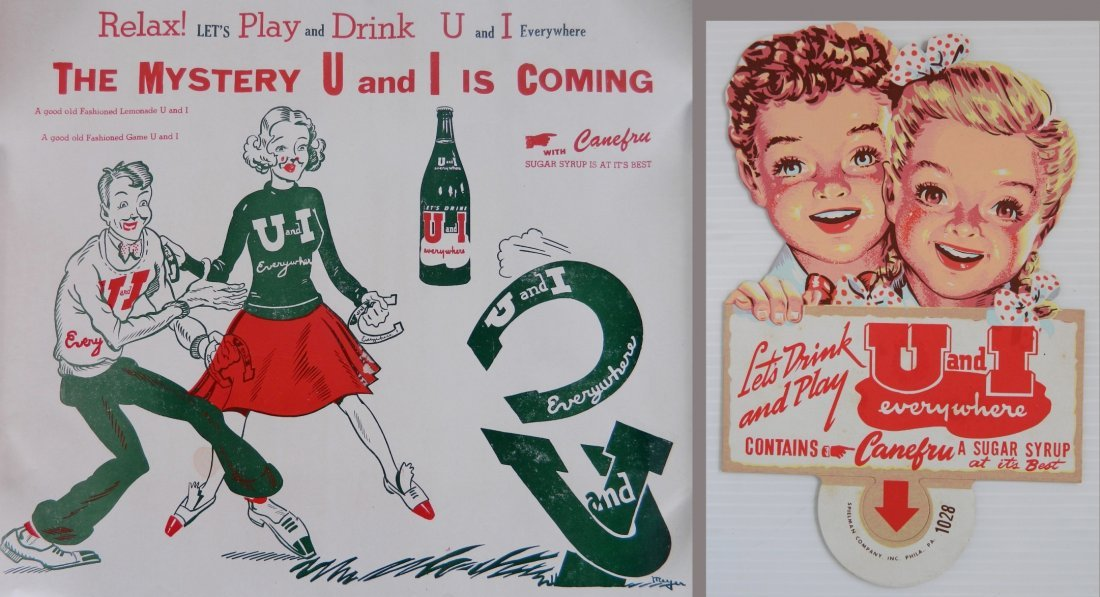 2 U & I Drink advertisement signs