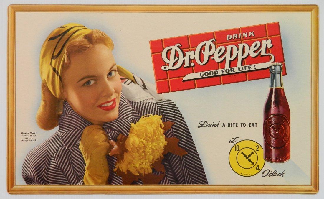 Dr. Pepper cardboard sign