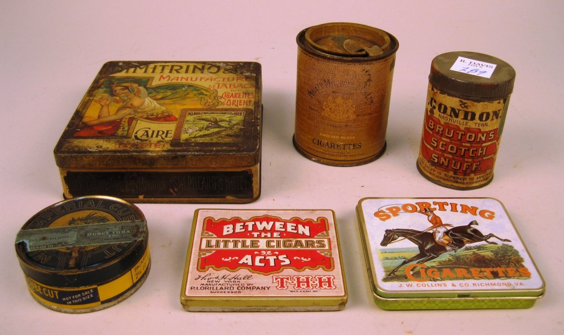 5 Tin tobacco containers