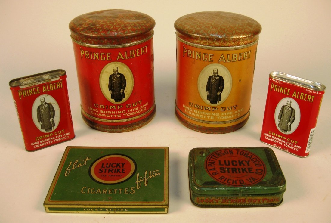 6 Tin tobacco containers