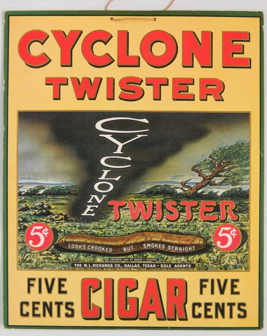 Cyclone Twister Cigar advertisement carboard sign