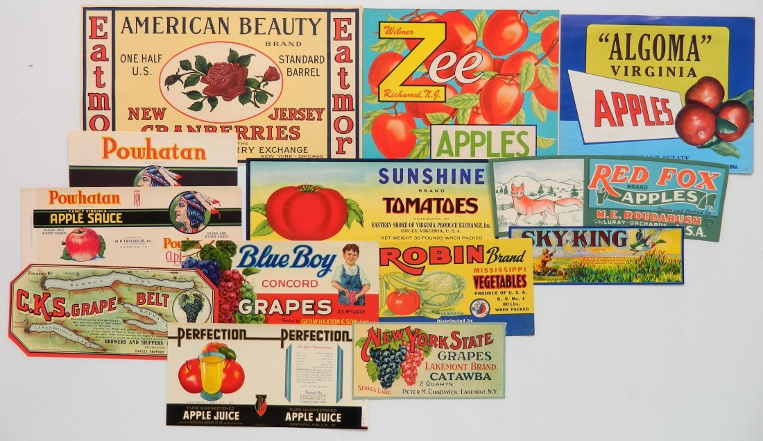 12 Miscellaneous crate or can labels