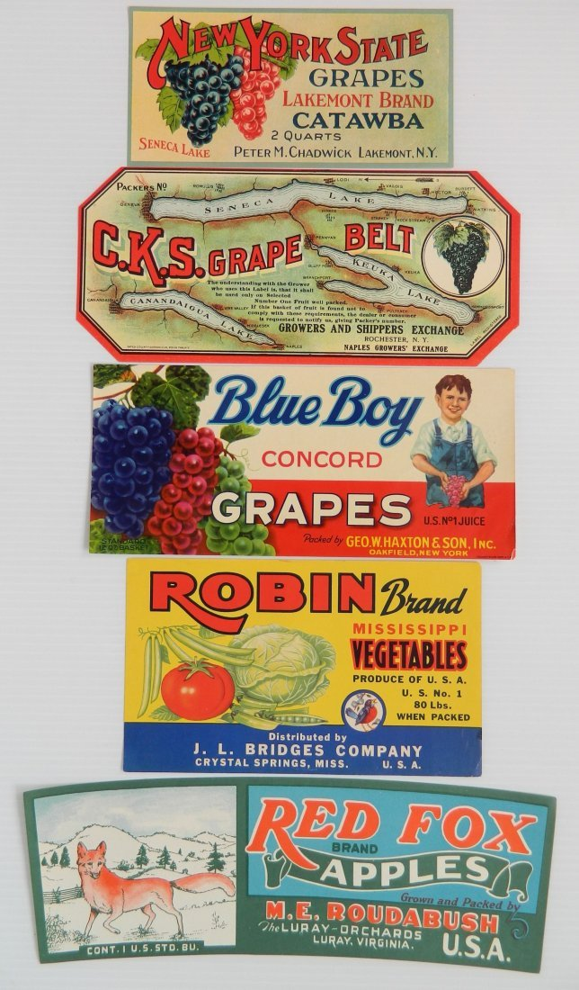 12 Miscellaneous crate or can labels - 6