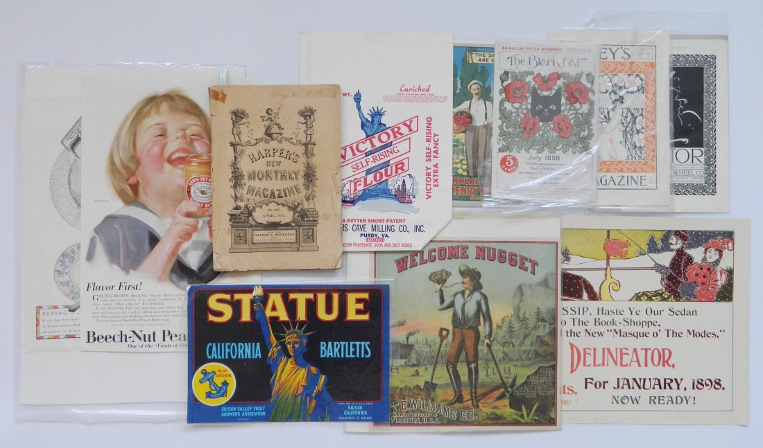 Misc. lot of advertisement labels and almanacs