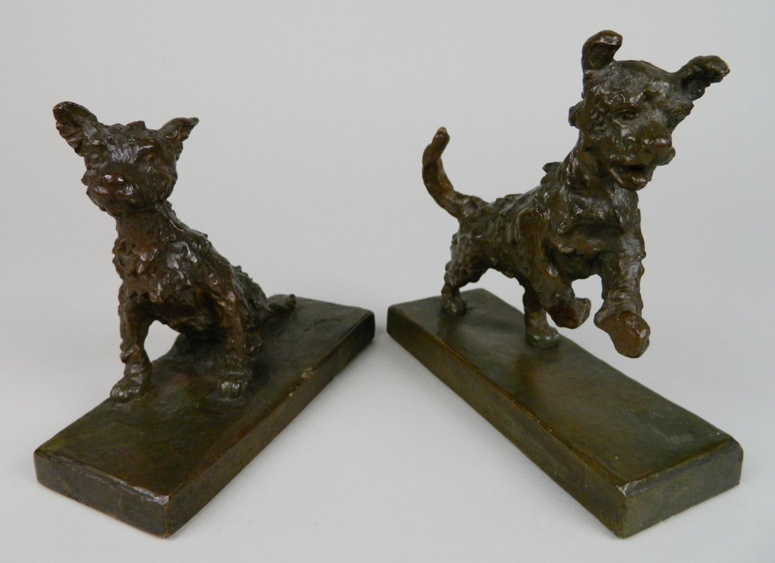 Edith B. Parsons pair of bronze bookends