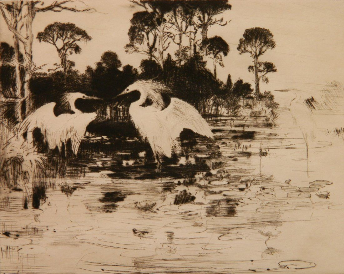 Frank Benson ethcing and drypoint