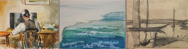 Carl Gaertner 2 watercolors and 1 graphite