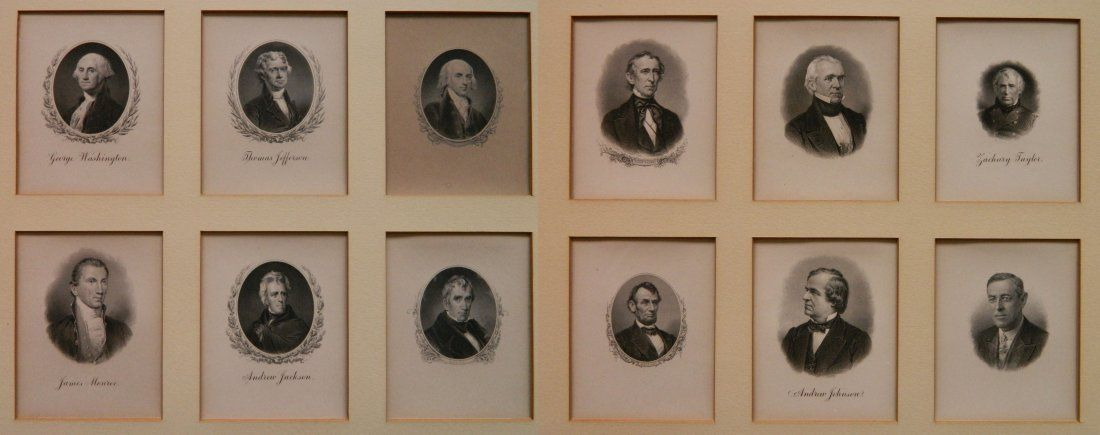 12 Small engravings of U.S. Presidents