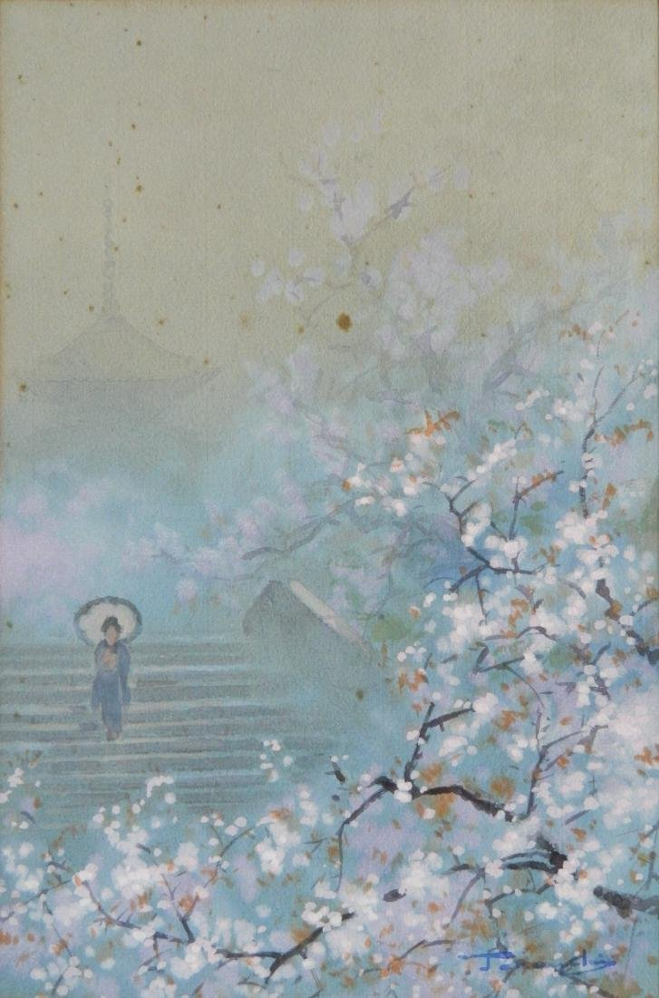 20th c. Japanese School 2 watercolors - 2