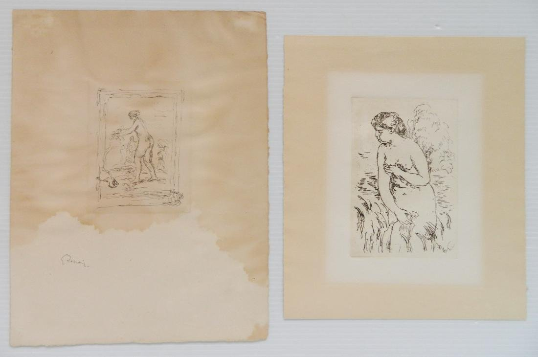 Pierre Auguste Renoir 1 lithograph and 1 etching
