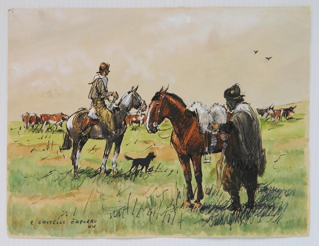 Enrique Castells Capurro 5 ink and watercolors - 5
