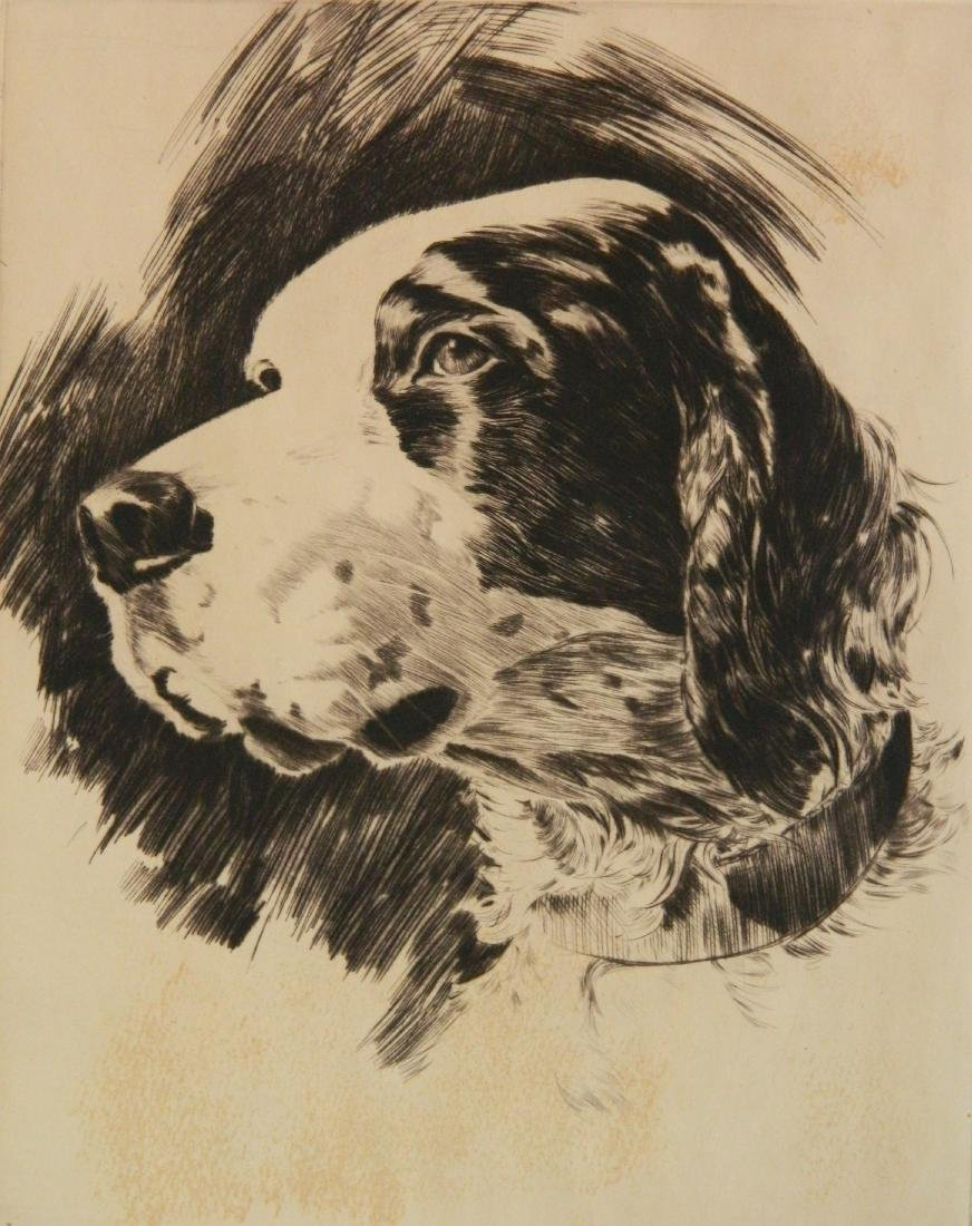 Churchill Ettinger etching on chine colle