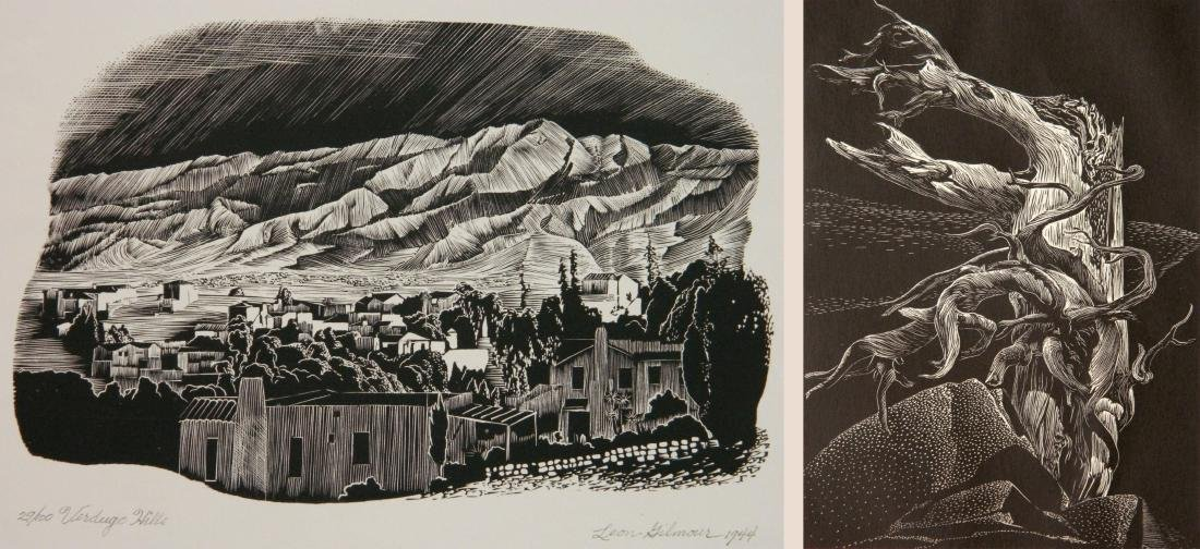 Leon Gilmour 2 wood engravings