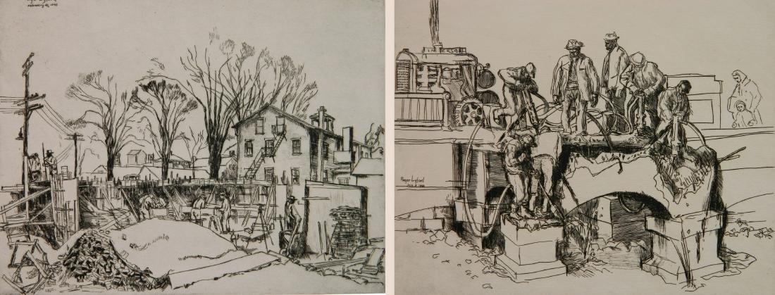 Roger Lyford 2 etchings