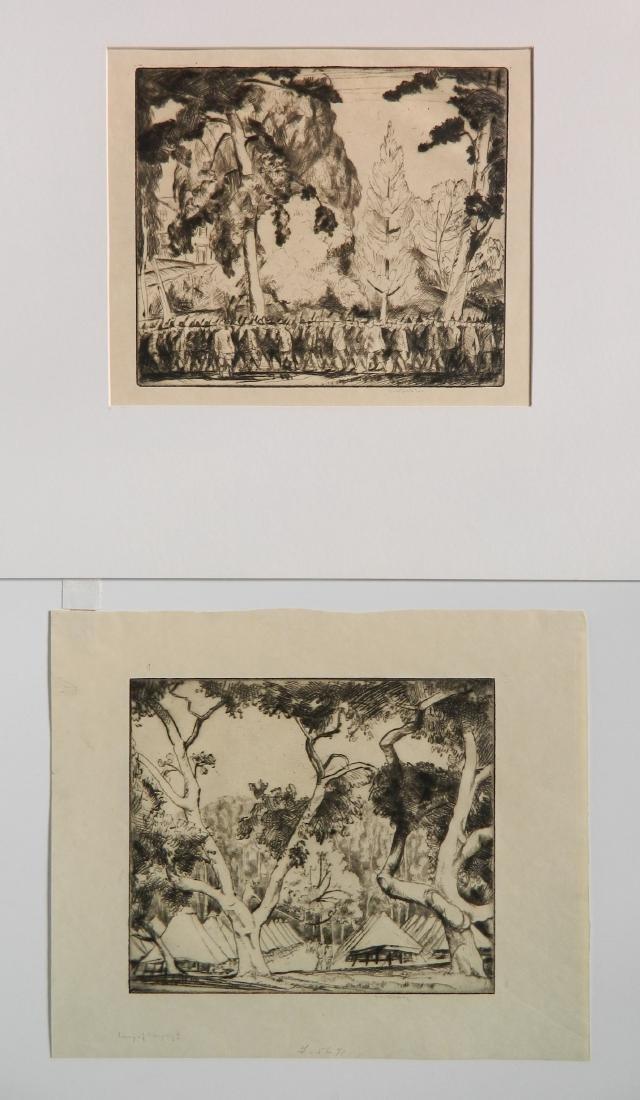 Bror J. O. Nordfeldt 2 etchings