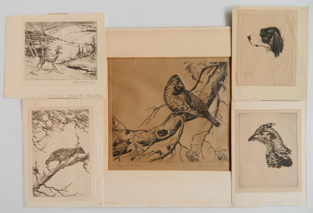 William Joseph Schaldach 5 etchings