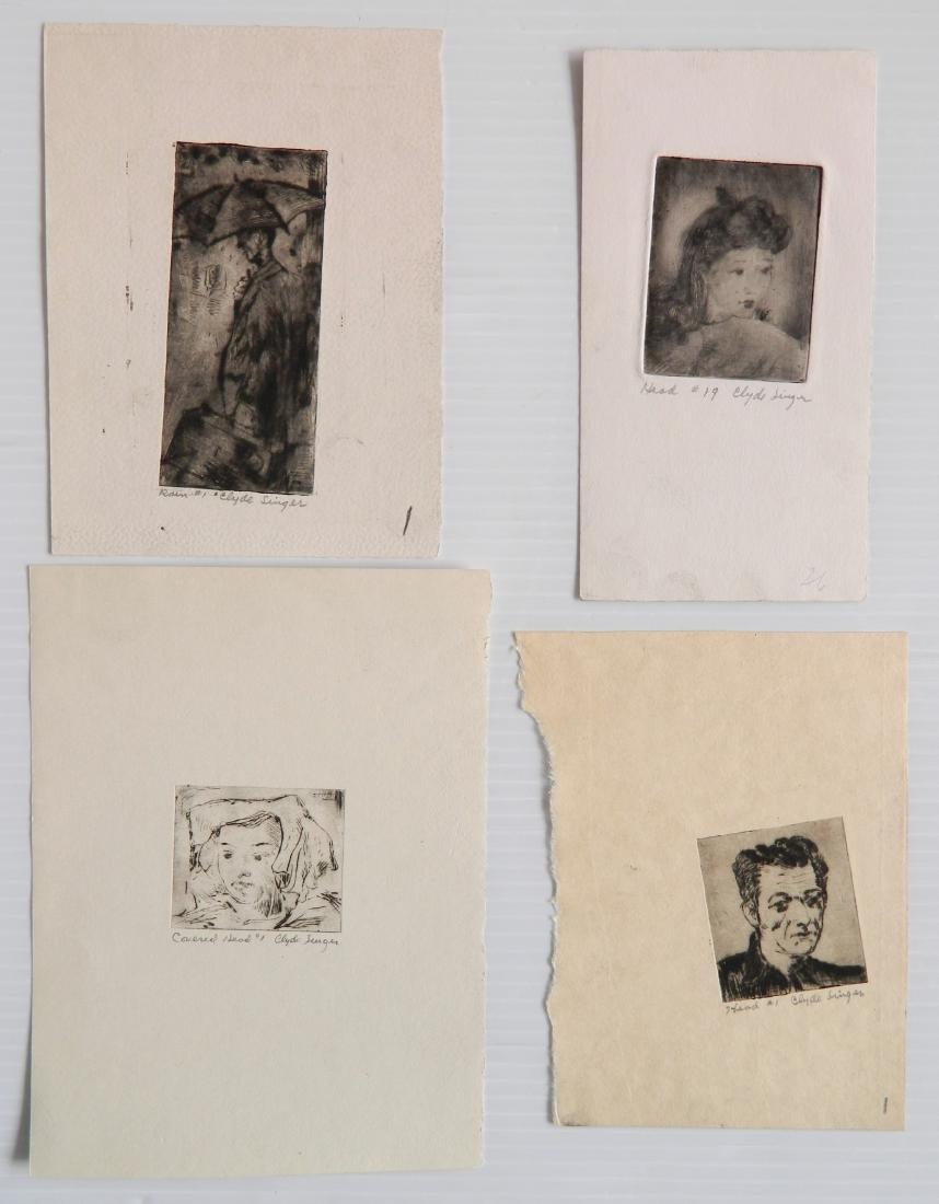 Clyde Singer 4 etchings