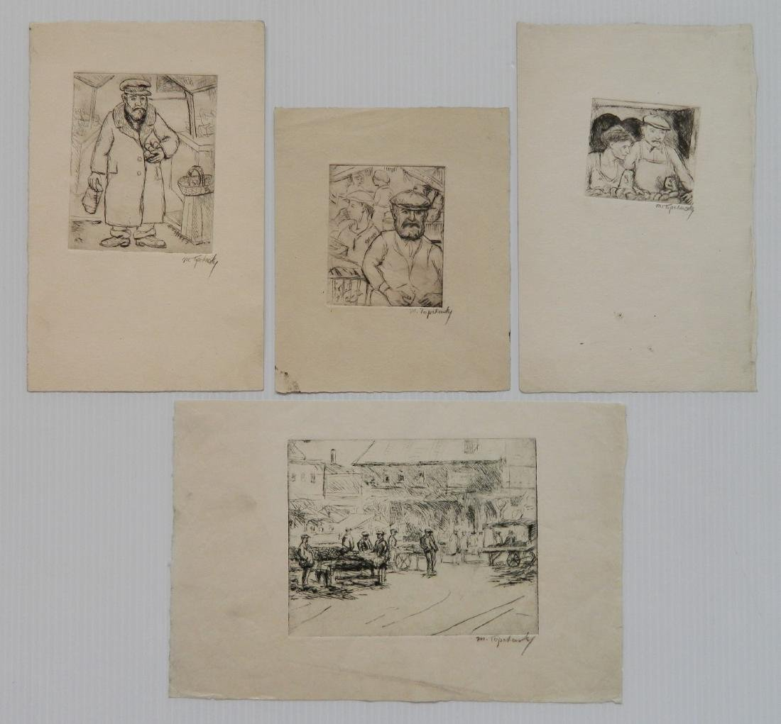 Morris Topchevsky 4 etchings