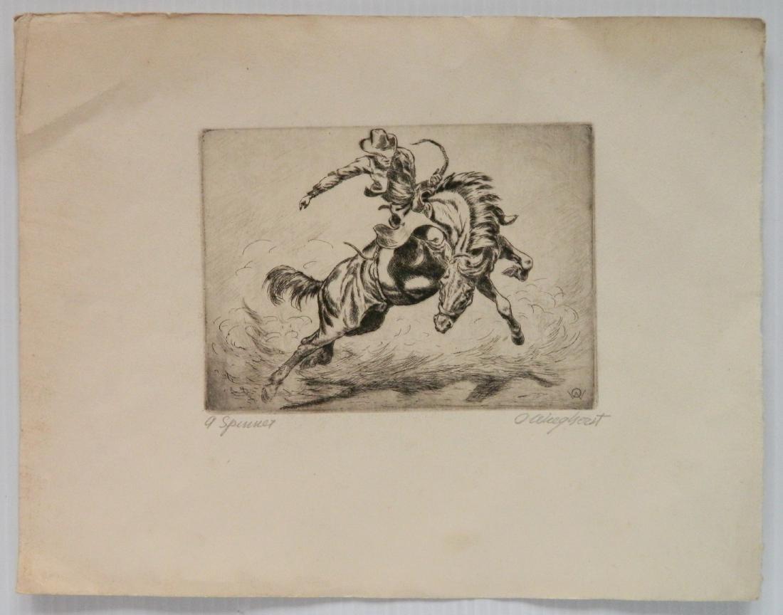 Olaf Wieghorst etching - 2