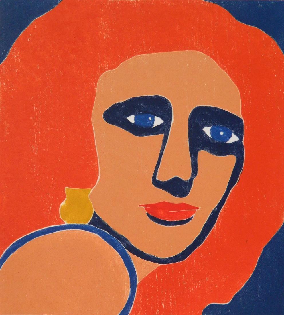 Milt Hoehn woodcut in colors