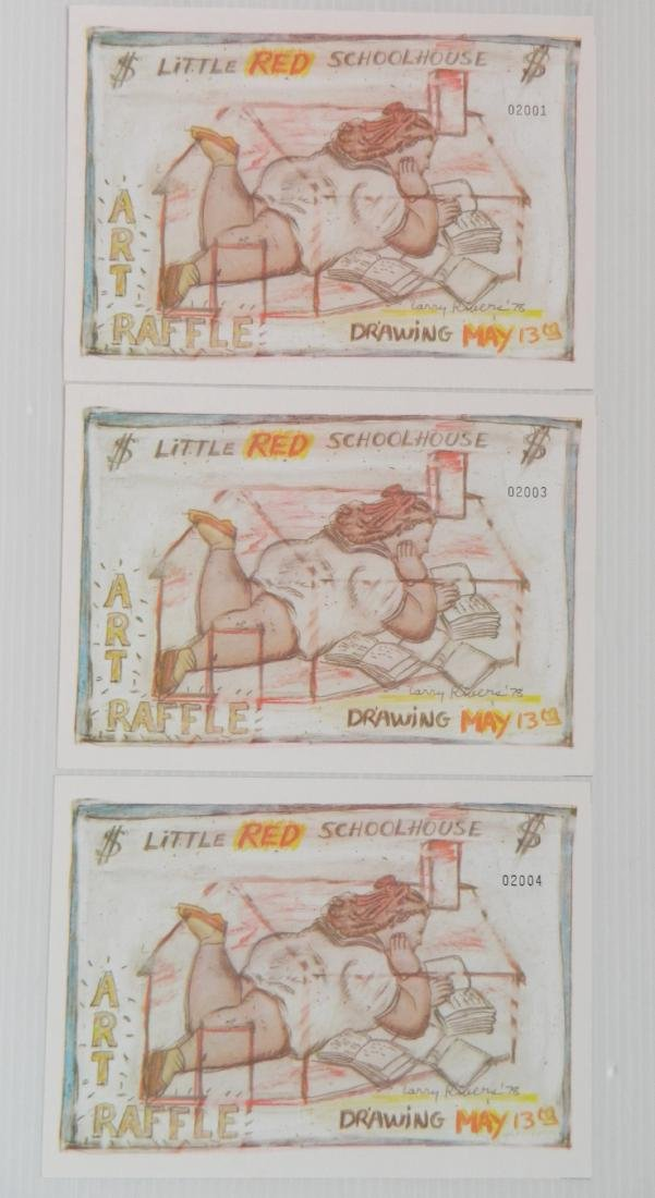 Larry Rivers 3 off-set lithographic tickets