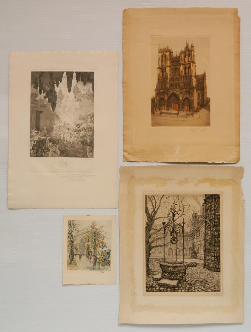 4 European etchings