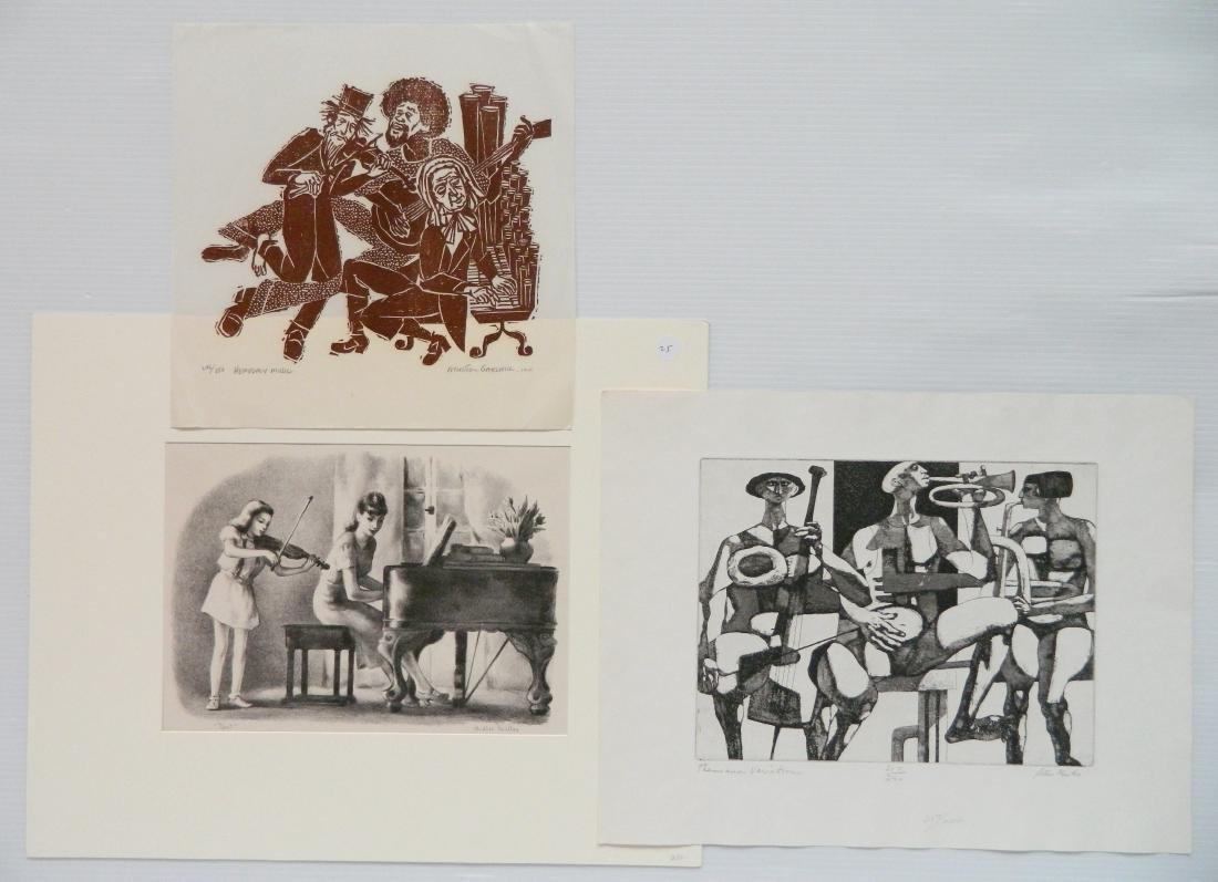 3 American prints- Music themes