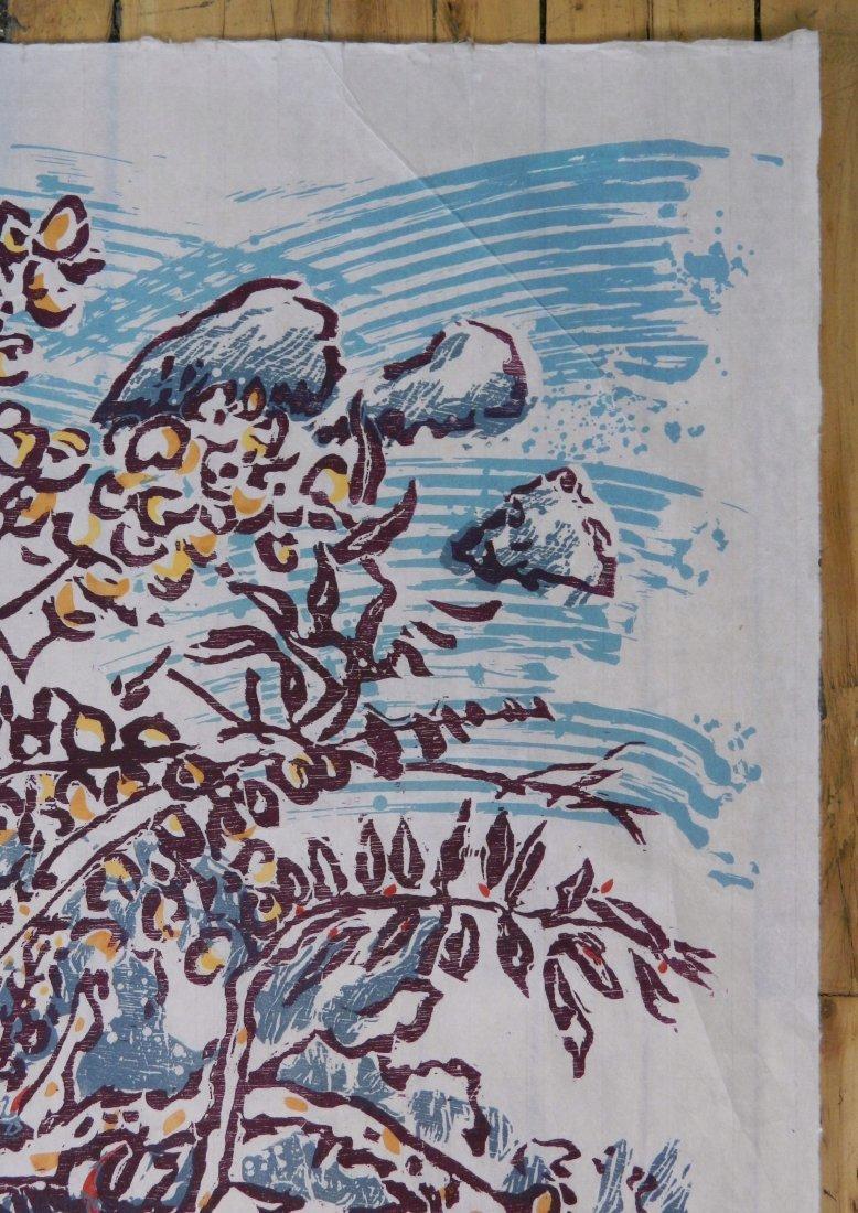 3 American woodcut in color - 3