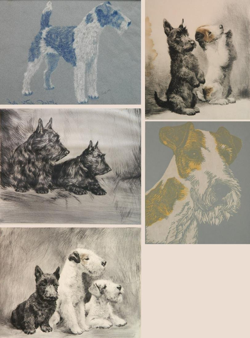 6 Dog Themed works on paper