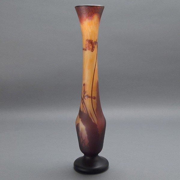 Daum Nancy Wheel Carved Cameo Vase