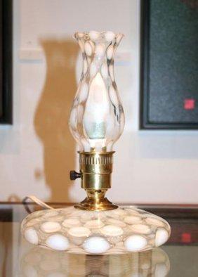 White Coin Dot Fenton Lamp