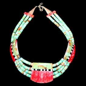 Turquoise Necklace By Delbert Crespin