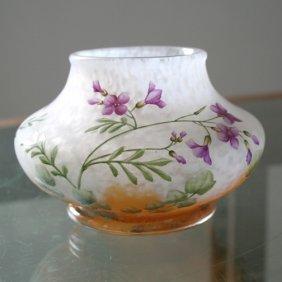 Daum Nancy Cameo Enamel Vase